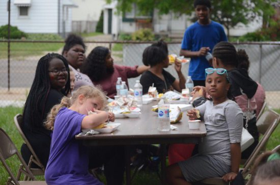 Jasmine Fortune Fortunate Kids children in Michigan eating lunch outside